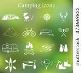 set of camping equipment... | Shutterstock .eps vector #373669822