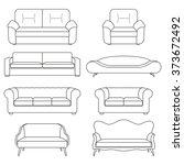 sofa icon line set. modern ...   Shutterstock .eps vector #373672492