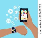 smart watch and smart phone... | Shutterstock .eps vector #373672822