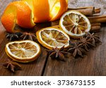 dried peel of an orange and... | Shutterstock . vector #373673155