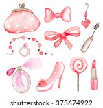 set of pink romantic watercolor ... | Shutterstock . vector #373674922
