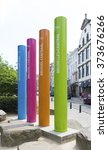 Small photo of BRUSSELS, BELGIUM - JULY 10, 2015: Colorful pillars to the access road to the brussels central station
