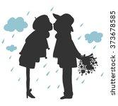 silhouette of lovers kissing in ... | Shutterstock .eps vector #373678585