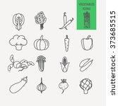 set of flat vegetables icons... | Shutterstock .eps vector #373685515