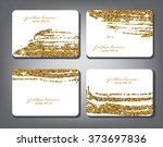 golden glitter banner set. gold ... | Shutterstock .eps vector #373697836
