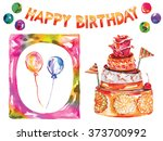 birthday card with cake ... | Shutterstock .eps vector #373700992