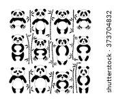 flat set of pandas surrounded... | Shutterstock .eps vector #373704832