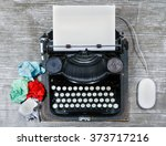 old typewriter on a textured... | Shutterstock . vector #373717216