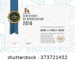 certificate template with clean ... | Shutterstock .eps vector #373721452