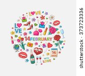14 february set  in the form of ... | Shutterstock .eps vector #373723336