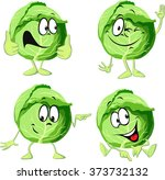 green cabbage cartoon isolated... | Shutterstock .eps vector #373732132