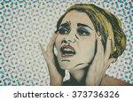 pop art comic style woman ... | Shutterstock . vector #373736326