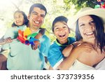 family happiness parents...   Shutterstock . vector #373739356