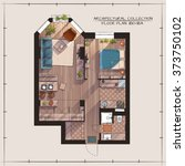 architectural color floor plan... | Shutterstock .eps vector #373750102