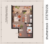 architectural color floor plan... | Shutterstock .eps vector #373750156