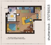 architectural color floor plan... | Shutterstock .eps vector #373750315