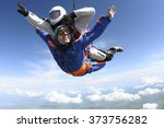 tandem jump. the instructor and ... | Shutterstock . vector #373756282