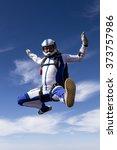 sportsman skydiver in free... | Shutterstock . vector #373757986