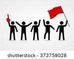 stick figures of sport fans | Shutterstock .eps vector #373758028