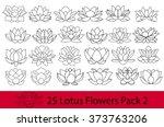lotus flowers black and white... | Shutterstock .eps vector #373763206