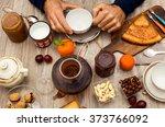 man having breakfast | Shutterstock . vector #373766092