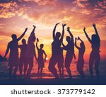 young adult summer beach party... | Shutterstock . vector #373779142