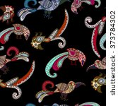 colorful birds on a dark... | Shutterstock . vector #373784302