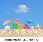sea letters on a beach sand... | Shutterstock . vector #373785772