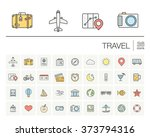 vector thin line icons set and... | Shutterstock .eps vector #373794316