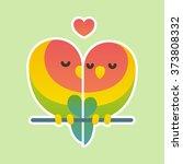 cute cartoon lovebird parrots... | Shutterstock .eps vector #373808332
