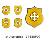 set of red shields with cross | Shutterstock .eps vector #37380907