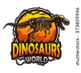 Dinosaurs World Emblem With...
