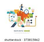 running woman. modern flat... | Shutterstock .eps vector #373815862