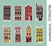 facades of old european...   Shutterstock .eps vector #373816786
