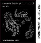black and white jellyfish ... | Shutterstock .eps vector #373819102