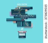 data center. flat design. | Shutterstock .eps vector #373829035
