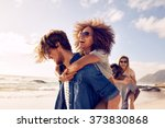 group of friends walking along... | Shutterstock . vector #373830868