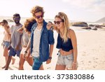 diverse group of young friends... | Shutterstock . vector #373830886