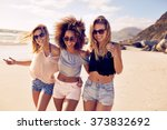 portrait of three young female... | Shutterstock . vector #373832692
