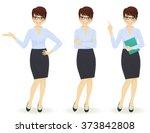 elegant business woman in... | Shutterstock .eps vector #373842808