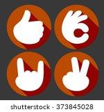 hands gesture vector icons set. ... | Shutterstock .eps vector #373845028
