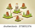 water supply infographics. 3d... | Shutterstock .eps vector #373851376