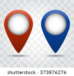 map pointer icons. red and blue ... | Shutterstock .eps vector #373876276