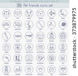 vector pet friends outline icon ... | Shutterstock .eps vector #373879975