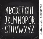 hand drawn alphabet written... | Shutterstock .eps vector #373881286