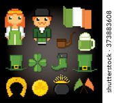 patrick day icons set. pixel... | Shutterstock .eps vector #373883608