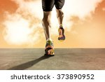 close up view strong athletic... | Shutterstock . vector #373890952