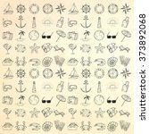 nautical icons set. hand drawn...   Shutterstock .eps vector #373892068