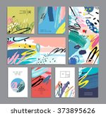 set of creative universal cards.... | Shutterstock .eps vector #373895626