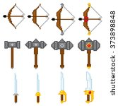 game elements weapons. pixel... | Shutterstock .eps vector #373898848